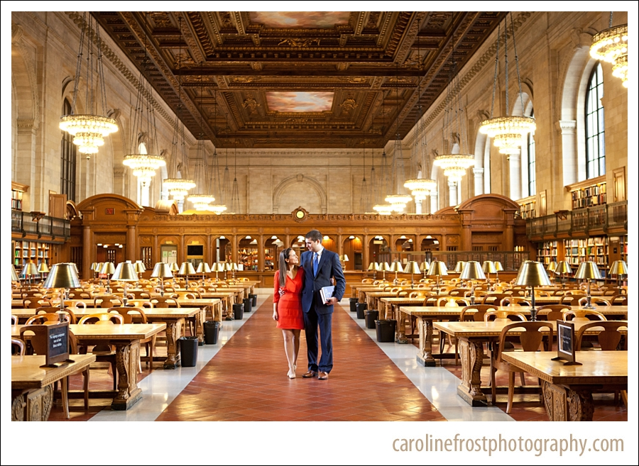 New York Public Library Engagement Photos Wedding